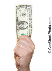Hand holding one dollar bill isolated over white background
