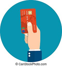 Hand holding or showing credit card