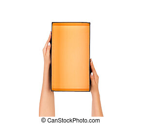 hand holding orange paper box package isolated on white background