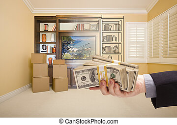 Holding Out Cash Over Drawing of Entertainment Unit In Room