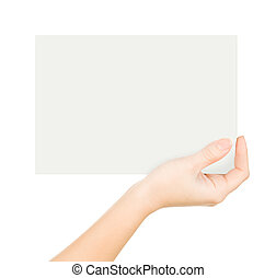 Hand holding paper isolated on whit