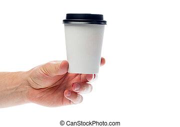 Hand holding paper mug isolated on white