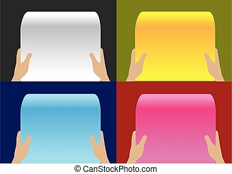 Hand Holding Paper Scroll Vector Background Designs