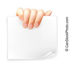 Hand holding paper, vector