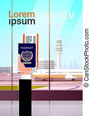 Hand Holding Passport Ticket Boarding Pass Travel Document Airport Background