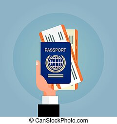 Hand Holding Passport Ticket Boarding Pass Travel Document