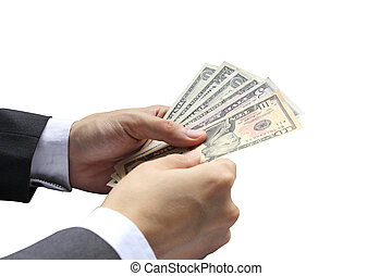 Hand holding Pay the US dollar