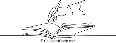 Hand holding pen and writing in book. Continuous one line drawing.