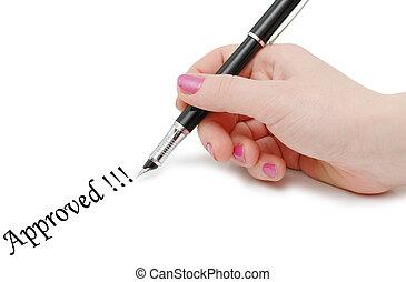 Hand holding pen isolated on white background