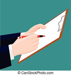 Hand holding pen, pencil with clipboard-Vector Illustration
