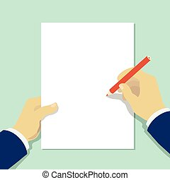 hand holding pencil with empty sheet of paper . Vector. Illustration.