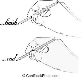 hand holding pencil with word end and finish - vector illustration - transparent and silhouette