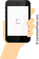 hand holding phone commercial template vector art...