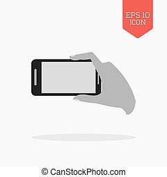 Hand holding phone for making photo icon. Flat design gray color symbol. Modern UI web navigation, sign.