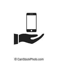 Hand holding phone icon.