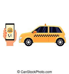 Hand holding phone with a taxi service app