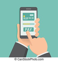 Hand holding phone with app for mobile paying, flat design ...