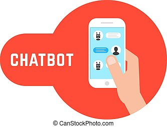 hand holding phone with chatbot