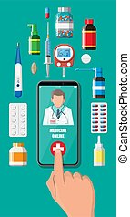 Hand holding phone with internet pharmacy app - Mobile phone...