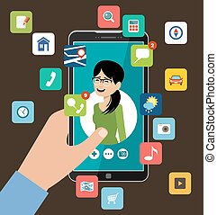 Hand holding phone with the woman's profile. Online dating and social networking concept