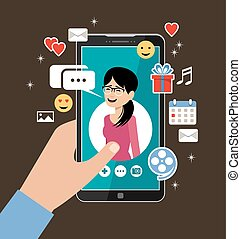Hand holding phone with the woman's profile. Online dating and social networking concept. Virtual love