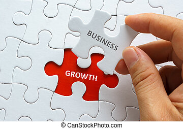 Hand holding piece of jigsaw puzzle with word BUSINESS GROWTH.