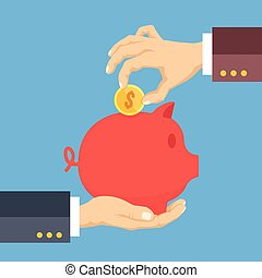 Hand holding piggy bank and hand putting gold coin into piggy bank. Investment, charity, money saving concepts. Creative flat design vector illustration