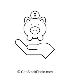 Hand holding piggy bank line icon on white background