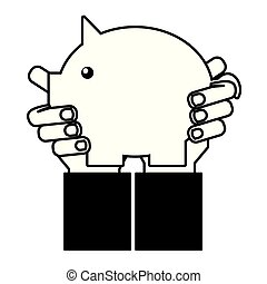 hand holding piggy bank on white background
