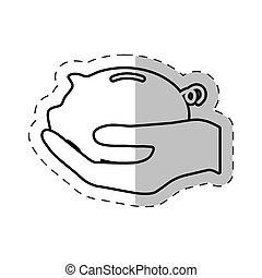 hand holding piggy money
