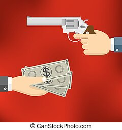 Hand holding pistol and hand giving money.