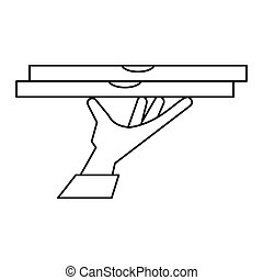hand holding pizza box delivery outline