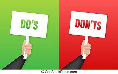 Hand holding placard Do's and Don'ts. Vector stock ...
