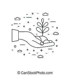 Hand Holding Plant Icon in Line Art