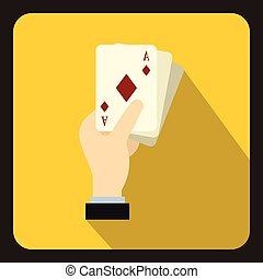 Hand holding playing cards icon, flat style
