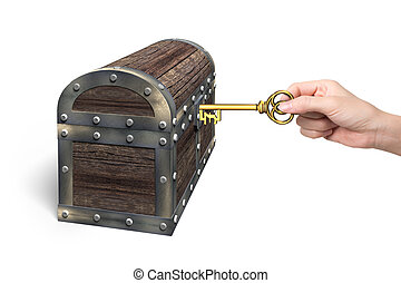 Hand holding pound symbol key open treasure chest