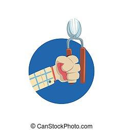 Hand holding pruner, symbol of the profession of a gardener cartoon vector Illustration