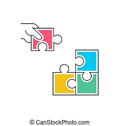 Hand holding puzzle and join to other