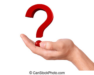 Hand holding question mark on a white background