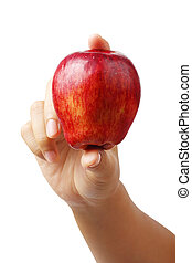 hand holding red apple isolated clipping path.