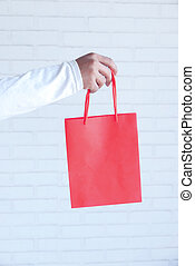 hand holding red color shopping bag on white background