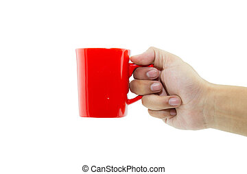 Hand holding red cup on white background