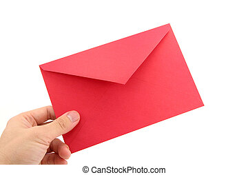 hand holding red envelope, concept of communication