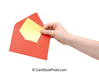 hand holding red envelope on white background