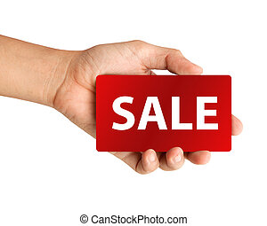 """hand holding red paper with """"SALE"""" Isolated on white background"""