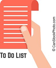 hand holding red to do list