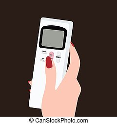 hand holding remote control illustration flat