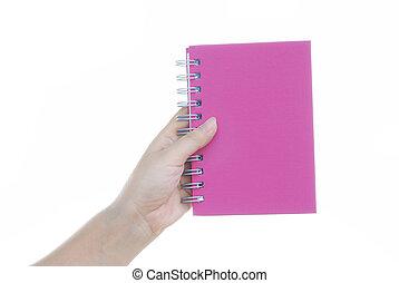 hand holding, rosa, notizbuch