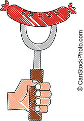hand holding sausage on fork food