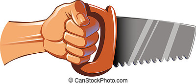 Hand Holding Saw - a hand holding a saw
